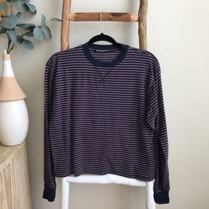 Brandy Melville Red and Blue Striped Gretchen Top